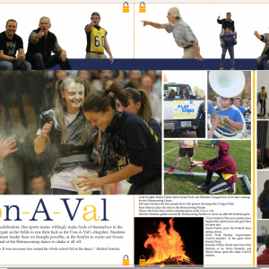 Sample page from Conval Yearbook with photos from Homecoming events