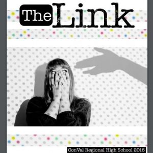 Cover of The Link school magazine with photo of woman covering her face