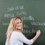 girl at spanish blackboard